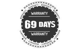 69 days black warranty illustration design. 69 days warranty illustration design stamp badge icon royalty free illustration