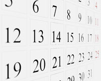Days on calendar. 3d illustration of 31 days of calendar month in square boxes Royalty Free Stock Photography