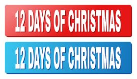 12 DAYS OF CHRISTMAS Caption on Blue and Red Rectangle Buttons. 12 DAYS OF CHRISTMAS text on rounded rectangle buttons. Designed with white title with shadow and vector illustration