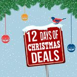 12 days of Christmas deals vintage rusty metal sign. On christmas theme background, vector illustration vector illustration