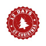 12 DAYS OF CHRISTMAS Grunge Stamp Seal with Fir-Tree royalty free illustration