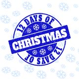12 Days of Christmas Scratched Round Stamp Seal for Christmas stock illustration