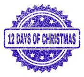 Grunge 12 DAYS OF CHRISTMAS Stamp Seal. 12 DAYS OF CHRISTMAS stamp imprint with scratched style. Blue vector rubber seal print of 12 DAYS OF CHRISTMAS title with stock illustration