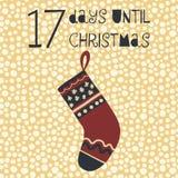 17 Days until Christmas vector illustration. Christmas countdown. Seventeen days til Santa. Vintage Scandinavian style. Hand drawn stocking. Holiday set for stock illustration