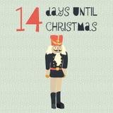 14 Days until Christmas vector illustration. Christmas countdown. 14 days. Vintage Scandinavian style. Hand drawn nutcracker. Holiday design set for card stock illustration