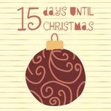15 Days until Christmas vector illustration. Christmas countdown. 15 days til Santa. Vintage Scandinavian style. Hand drawn ornament Holiday design set for stock illustration