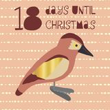18 Days until Christmas vector illustration. Christmas countdown vector illustration