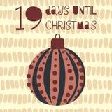19 Days until Christmas vector illustration. Christmas countdown. Nineteen days til Santa. Vintage Scandinavian style. Hand drawn ornament Holiday set for vector illustration