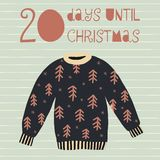 20 Days until Christmas vector illustration. Christmas countdown. Twenty days til Santa. Vintage Scandinavian style. Hand drawn ugly sweater. Holiday set for vector illustration