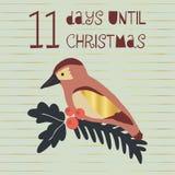 11 Days until Christmas vector illustration. Christmas countdown eleven days til Santa. Vintage Scandinavian style. Hand drawn. Bird. Holiday design set for royalty free illustration