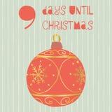 9 Days until Christmas vector illustration. Christmas countdown nine days til Santa. Vintage Scandinavian style. Hand drawn. Ornament. Holiday design set for stock illustration