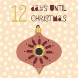 12 Days until Christmas vector illustration. Christmas countdown twelve days til Santa. Vintage Scandinavian style. Hand drawn. Ornament Holiday design set for vector illustration