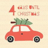 4 Days until Christmas vector illustration. Christmas countdown four days. Vintage style. Hand drawn tree on car. Holiday design vector illustration