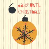 6 Days until Christmas vector illustration. Christmas countdown six days til Santa. Vintage style. Hand drawn ornament. Holiday stock illustration