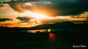 Days End by Sundown. Shadow, lense, flair royalty free stock photography