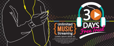 30 Days Free Trial Music Streaming 1500x600 Banner. Royalty Free Stock Photo
