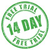 14 days free trial rubber stamp. On white background Royalty Free Stock Photo