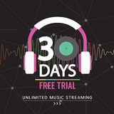 30 Days Free Trial Unlimited Music Streaming. Stock Photography