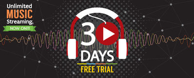30 Days Free Trial 1500x600 Banner. Stock Photos