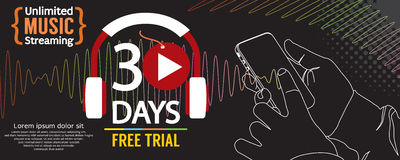 30 Days Free Trial 1500x600 Banner. Royalty Free Stock Photo