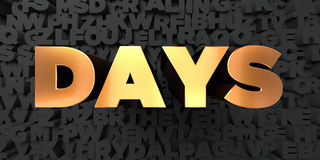 Days - Gold text on black background - 3D rendered royalty free stock picture Stock Photos