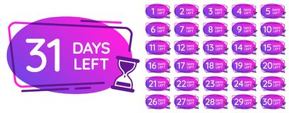 Days left badges. Day numbers countdown clock, hourglass counter reminder and sand clocks times badge vector royalty free illustration