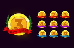 Days left to go medals set. Colorful labels set with ribbon and royalty free illustration