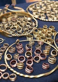 Days of Live Archaeology. Kernave, Lithuania - July 5: Old-fashioned brass jewelry at 11th International Festival of Experimental Archaeology Days of Live Stock Photos