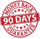 90 days money back guarantee round textured rubber stamp. Red grungy rubber stamp on white background stock illustration