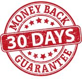 30 days money back guarantee round textured rubber stamp. Red grungy rubber stamp on white background royalty free illustration