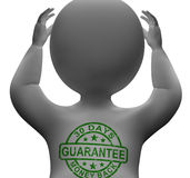 30 Days Money Back Guarantee Stamp On Man. S Chest Royalty Free Stock Photo