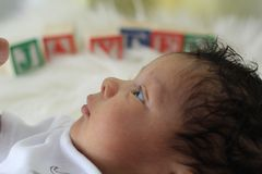 14 days new. Newborn, angel, male, baby Stock Photo
