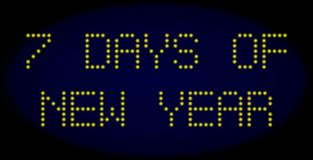 7 DAYS OF NEW YEAR Led Style Message with Glowing Dots stock illustration