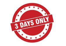 3 days only text on red stamp vector. Isolated on white Royalty Free Stock Photos