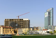 19 days to EXPO 2015, building site and EXPO advertising, Milan Stock Photo