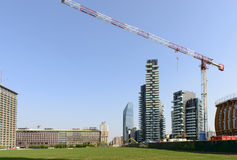 19 days to EXPO 2015,  business hub with wheat field, Milan Stock Images