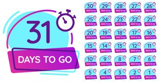 Days to go badge. Business day countdown, release date counter and timer number badges vector illustration set stock illustration