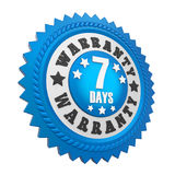 7 Days Warranty Badge Isolated. On white background. 3D render Royalty Free Stock Image