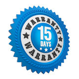 15 Days Warranty Badge Isolated Royalty Free Stock Image