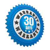 30 Days Warranty Badge Isolated Royalty Free Stock Photos