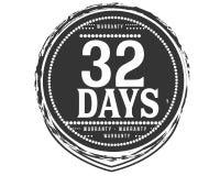 32 days warranty classic retro design icon vector illustration