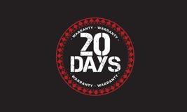 20 days warranty design,best black stamp. 20 days warranty design stamp badge icon stock illustration