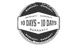 10 days warranty design,best black stamp. 10 days warranty design stamp badge icon royalty free illustration