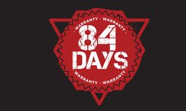 84 days warranty design,best black stamp. 84 days warranty design stamp badge icon stock illustration