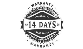 14 days warranty design classic,best black stamp. 14 days warranty design,best black stamp illustration stock illustration