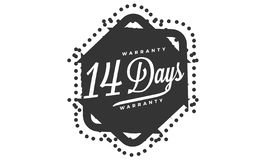 14 days warranty design stamp. Badge icon royalty free illustration