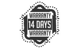 14 days warranty design,best black stamp. 14 days warranty design stamp badge icon stock illustration