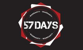 57 days warranty design,best black stamp. 57 days warranty design stamp badge icon royalty free illustration