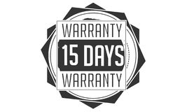 15 days warranty design,best black stamp. 15 days warranty design stamp badge icon stock illustration