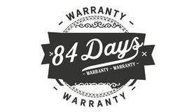 84 days warranty design stamp. Badge icon stock illustration